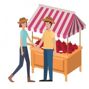 Пара в магазине киоск с овощами аватар персонажа