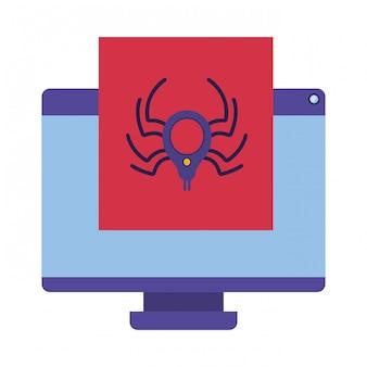 ウィンドウとクモのアイコンが分離されたコンピューターの画面