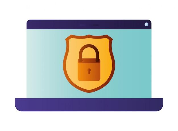 Экран ноутбука с открытым окном и значком пароля