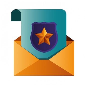 Открытое письмо с щитом и окном изолированные значки