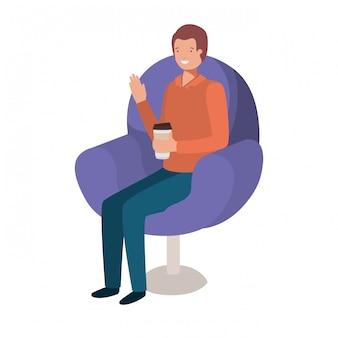 Человек сидит в кресле с контейнером кофе аватар персонажа