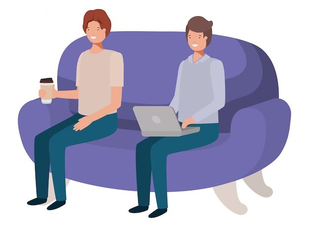 Молодые люди сидят на диване аватар персонажа