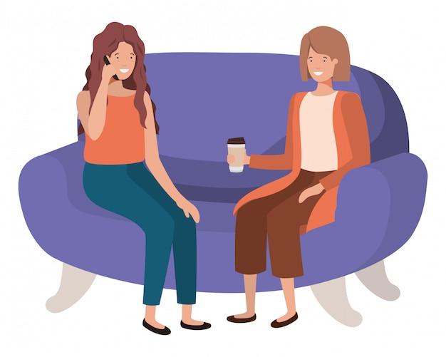 Молодые женщины сидят на диване аватар персонажа