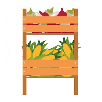 Деревянная коробка с овощами изолированных значок