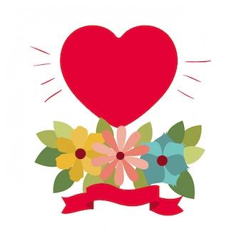 Любовная открытка с изолированной иконой сердца