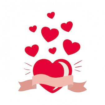 Сердце с лентой, изолированных значок
