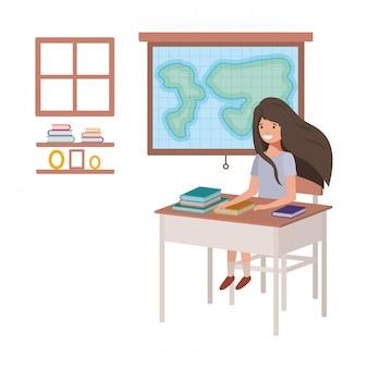 地理教室で若い学生の女の子