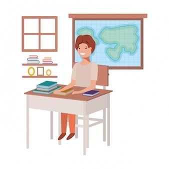 地理教室に座っている学生少年