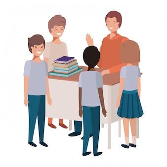 生徒と教室の先生
