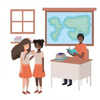 生徒と地理クラスの教師黒