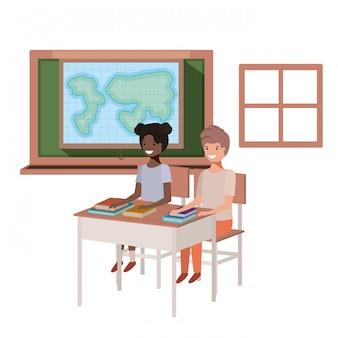 地理教室の若い学生たち