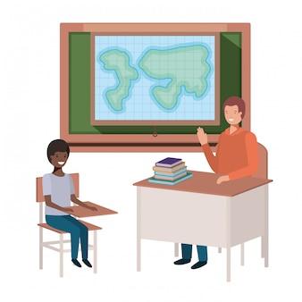 学生と地理クラスの先生
