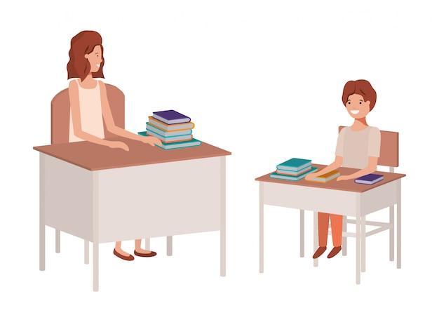 学生と教室で女教師