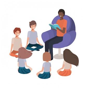 黒人男性が子供たちとソファで本を読んで