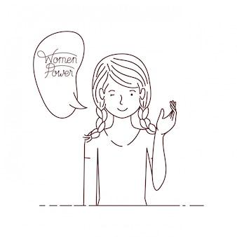 Женщина с лейблом женщины сила аватар персонажа