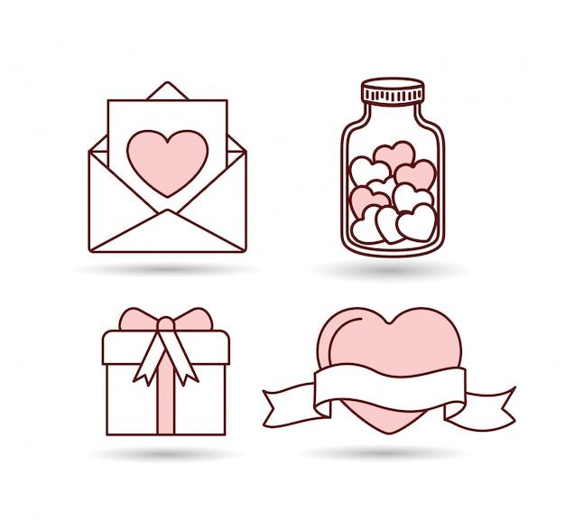 幸せなバレンタインデーのアイコンを設定
