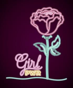 バラの装飾が施された女性のパワーネオンラベル