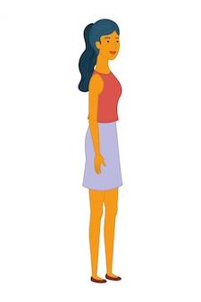若い女性の立っているアバターキャラクター