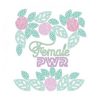 Женская сила этикетка с розами икон