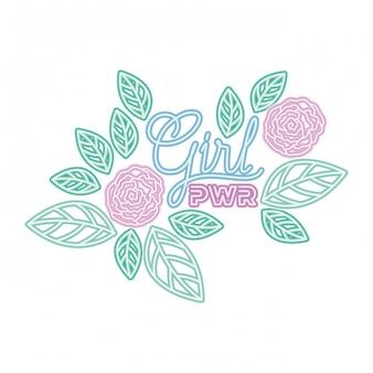 Девушка сила этикетка с розами изолированных значок
