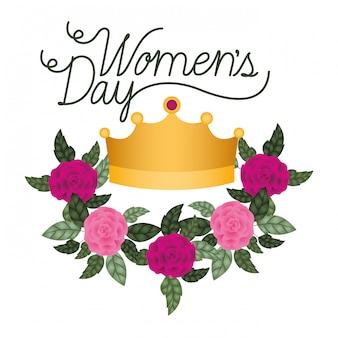 Женский день этикетка с розами изолированных значок