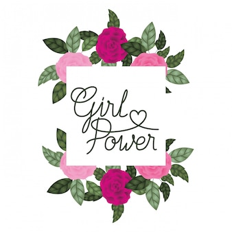 Ярлык силы девушки с значками рамки роз