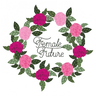 Женская будущая этикетка с розами обрамляет значки