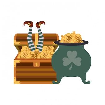 Сундук с монетами изолированных значок