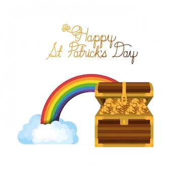 幸せな聖パトリックの日ラベル、虹のアイコン