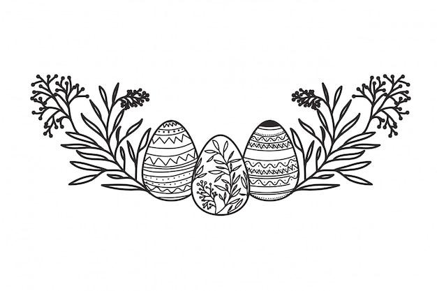 Пасхальные яйца с цветами и листьями изолированных значок