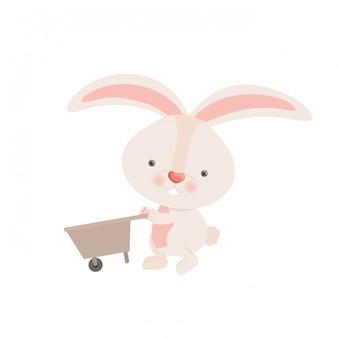 Кролик с тачкой, изолированных значок