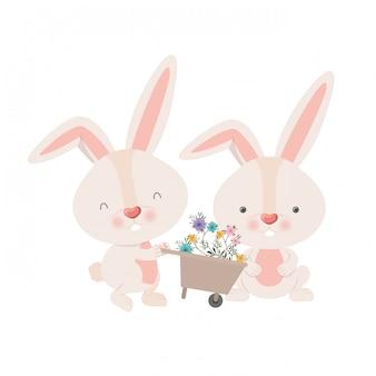 Кролики с тачкой и цветами, изолированных значок