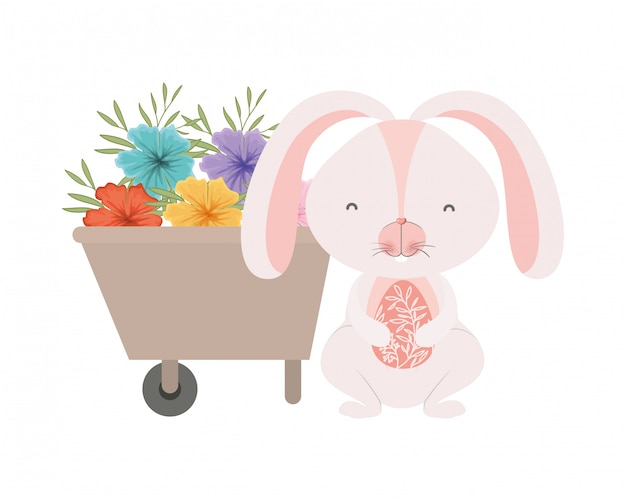 Кролик с тачкой и цветами на белом фоне