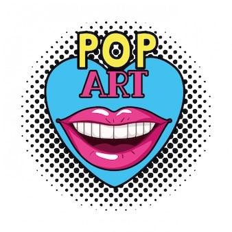 Женский рот поп-арт стиль изолированных значок