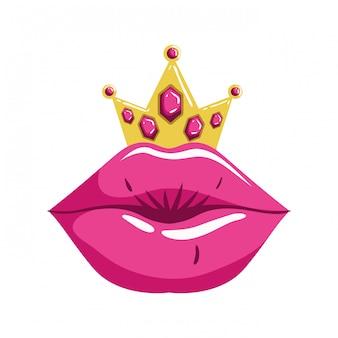 Женские губы поп-арт стиль изолированных значок
