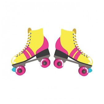 Роликовые коньки значок поп-арт
