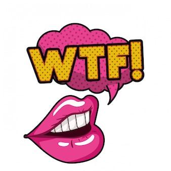 女性の口の吹き出し絶縁アイコン