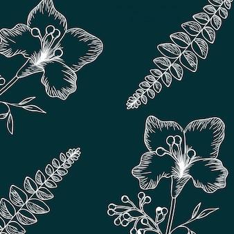 パターンの植物やハーブ絶縁アイコン