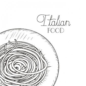 Вкусная паста итальянский изолированных значок