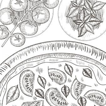 イタリアのピザパターン絶縁アイコン