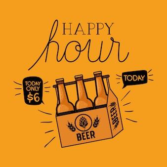 Счастливый час этикетка пива с бутылками в корзине