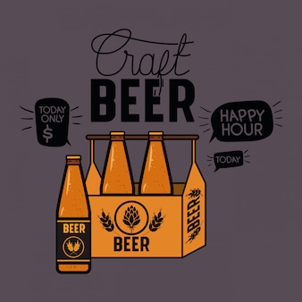 幸せな時間ビールラベルバスケットの中の瓶