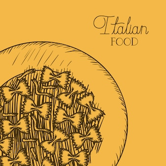 描かれたファルファッレイタリアパスタ料理
