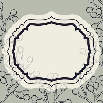 Викторианская рамка с веткой и нарисованными семенами