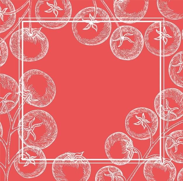 トマト植物イタリア料理描画フレーム
