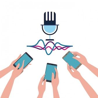 Руки с смартфон и голосовой помощник