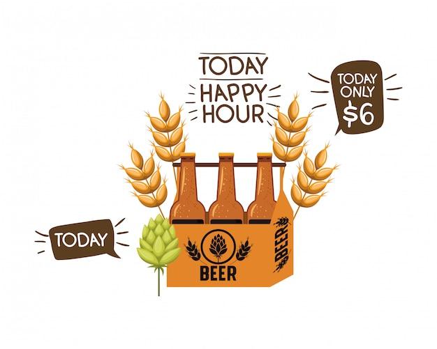 ビールの分離アイコンとハッピーアワーのラベル