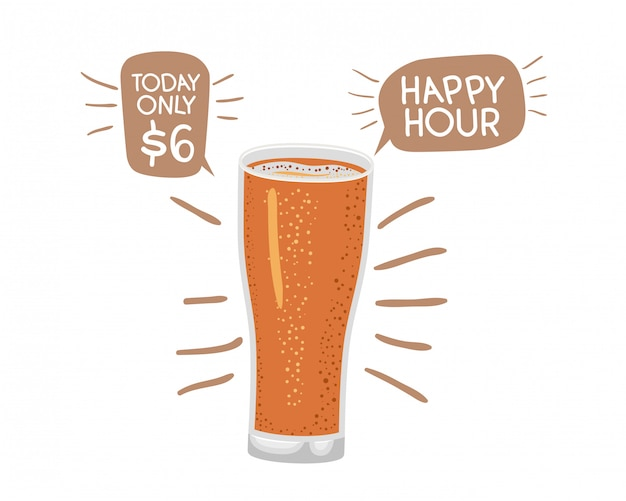 グラスとビールの絶縁アイコン