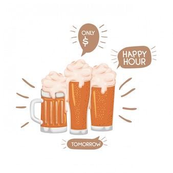 泡分離アイコンとビール