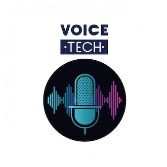 マイクと音波付きの音声技術ラベル